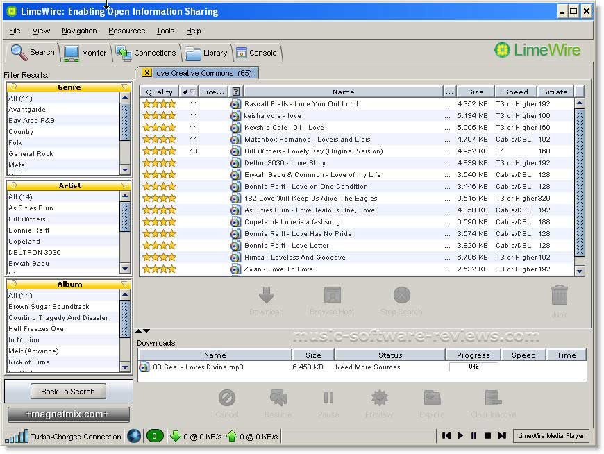 Is Limewire the fastest P2P file sharing software?
