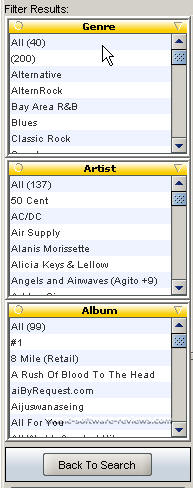 Limewire 4.1 Filter Options